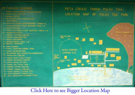 Location Map of Sabah Parks on Pulau Tiga