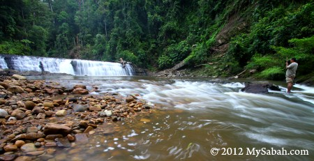 photo taking at Imbak Waterfall