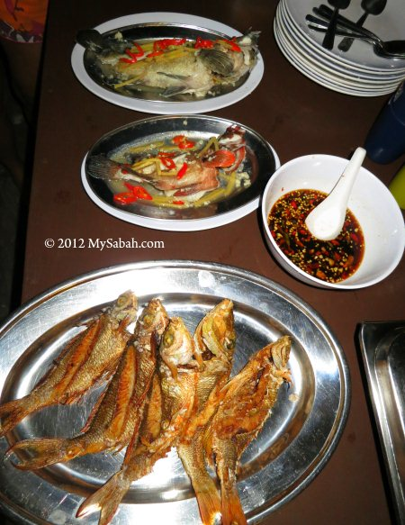 fishes served with small chili