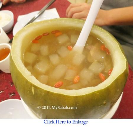 Double boiled whole winter melon soup