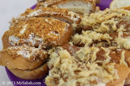 breads covered with meat floss and peanut crumb