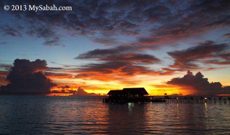 sunset of Lankayan Island