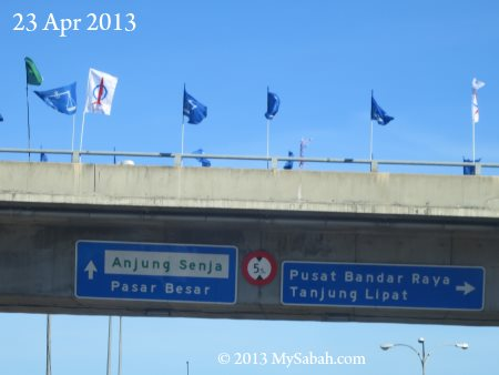 party flags on fly over