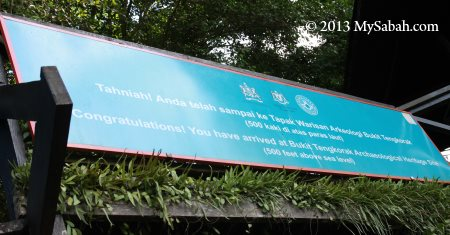 Congratulatory signage for reaching the top