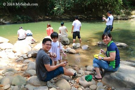 enjoying lunch at riverside