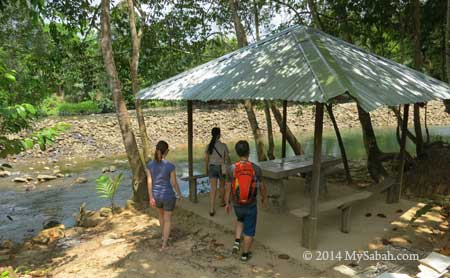 shelter next to river