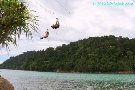 having fun with coral flyer zipline