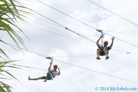 hanging on zipline