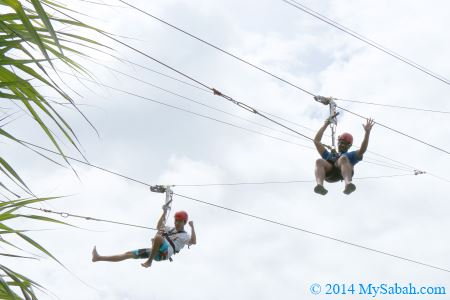 hanging on zipline