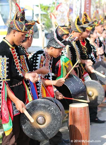 Dusun Tindal people playing gong