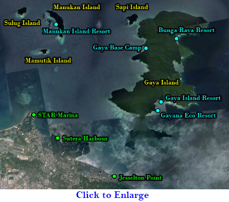 map of ferry terminals and islands of Kota Kinabalu