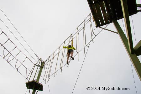 high ropes challenge: Spaghetti Walk at 10 Meters