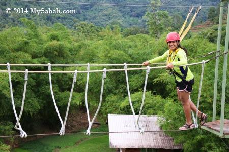 high ropes challenge: Burma Bridge