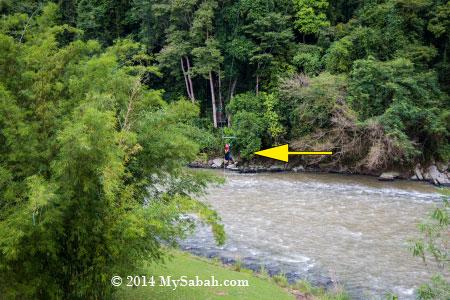 zipline across Kiulu River