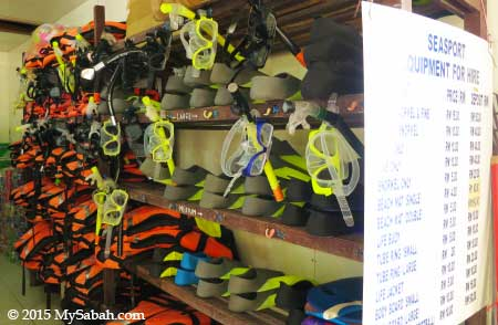 snorkelling and sport gears for rent