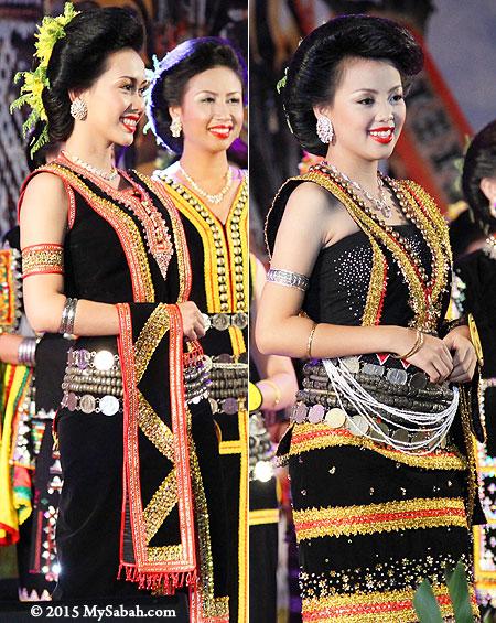 Dusun girls wearing Tangkong