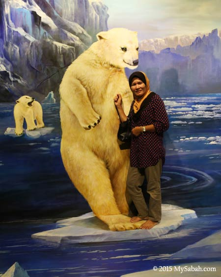 photo with 3D painting of polar bears