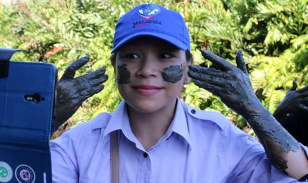 Applying volcano mud on face