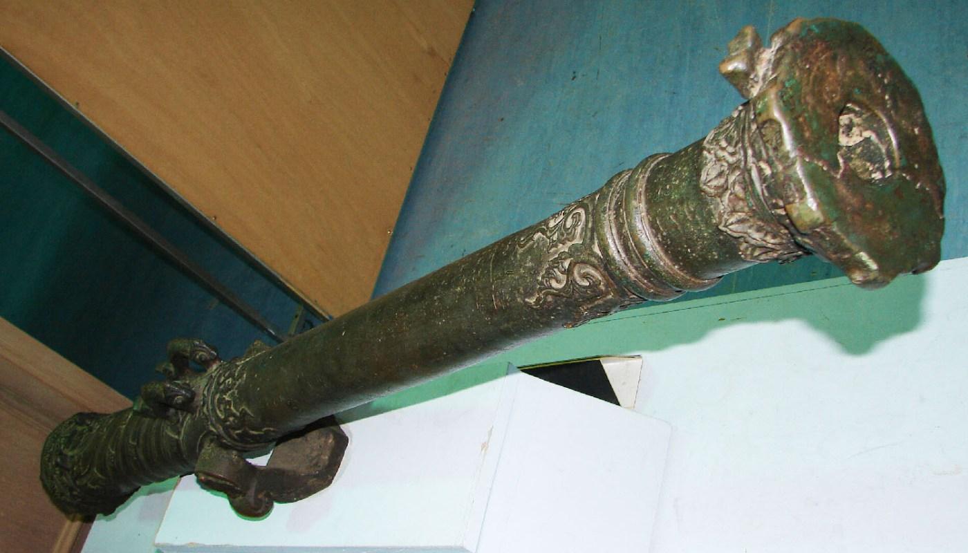 antique brass cannon
