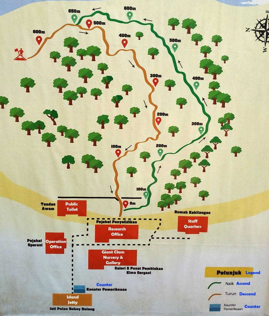 trail map of Bohey Dulang Island