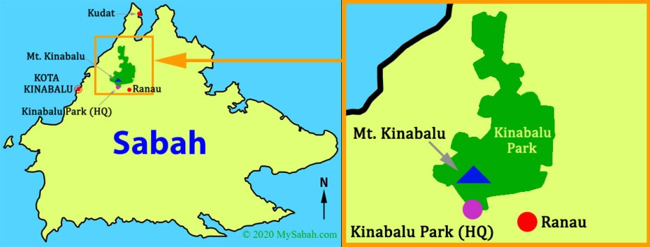 Location of Kinabalu National Park and its Headquarter