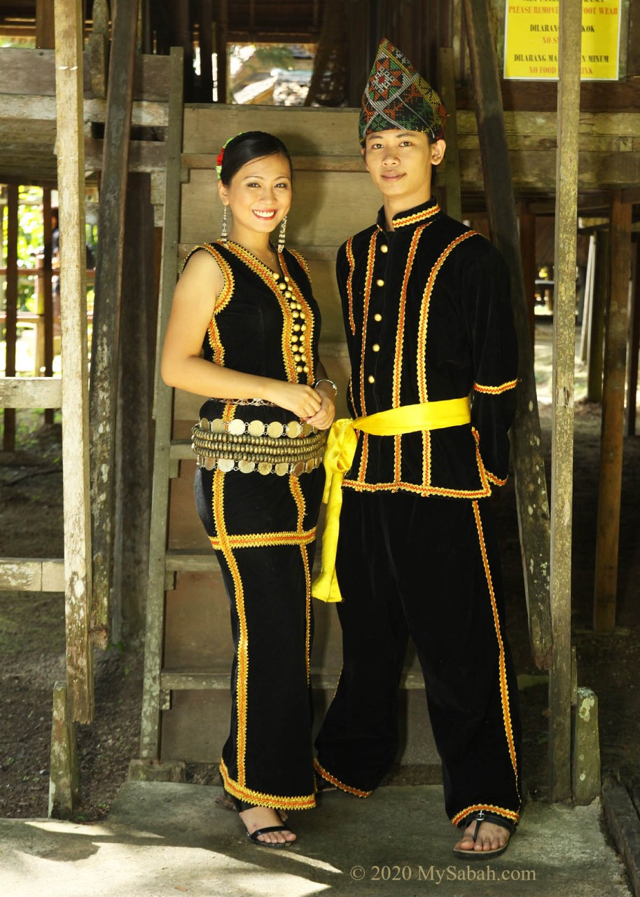 Kadazan Penampang couple in traditional costume