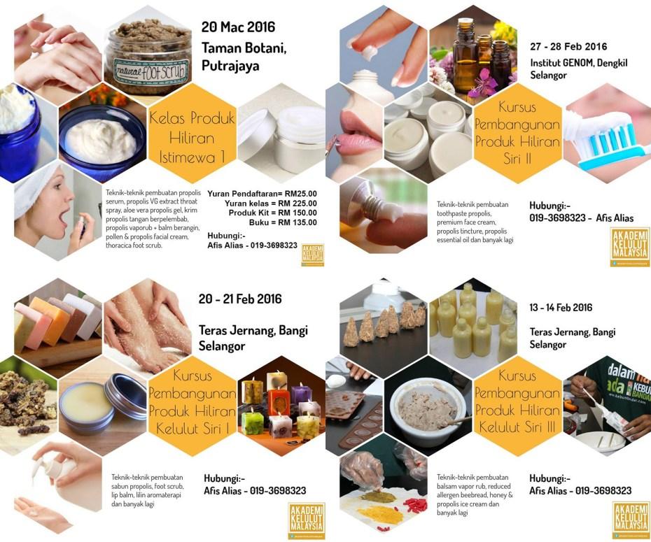 Some courses by Akademi Kelulut Malaysia (AKM) on making of Kelulut products