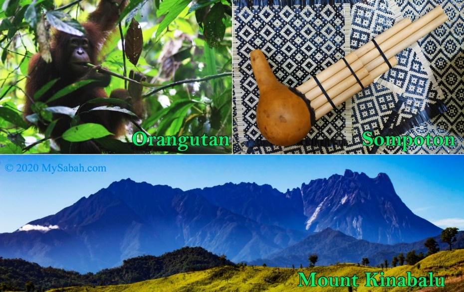 Sabah icons: Orangutan, Sompoton, and Mount Kinabalu