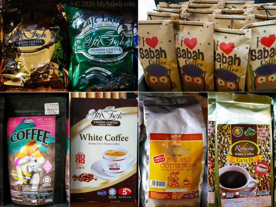 Tenom coffee in different packing