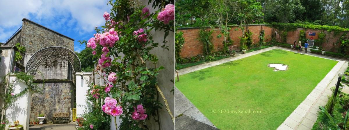 English Rose Garden (left) and Australian Garden (right) in Kundasang War Memorial