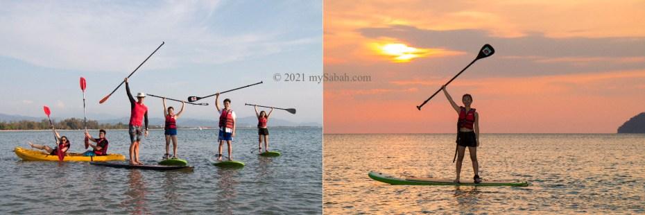 Sunset stand-up paddleboarding (SUP) at Tanjung Aru Beach