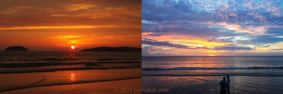 Different colours of Tanjung Aru sunset