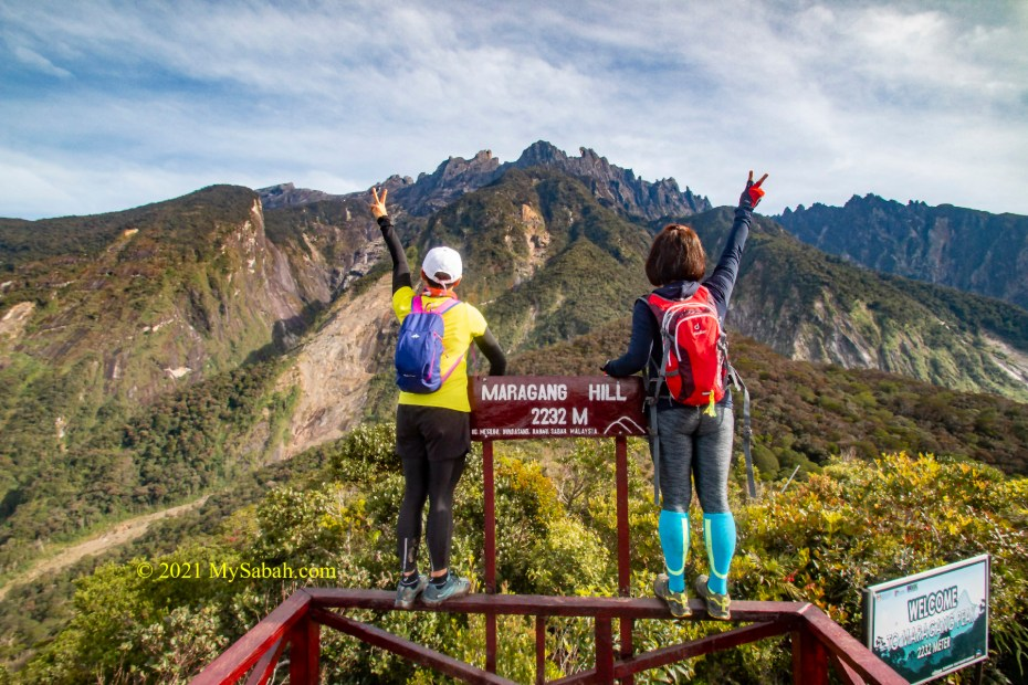Looking at Mount Kinabalu from Maragang Hill