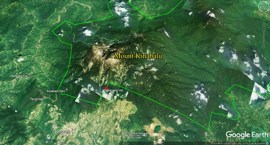 3D map of Kinabalu Park, Mount Kinabalu and Maragang Hill