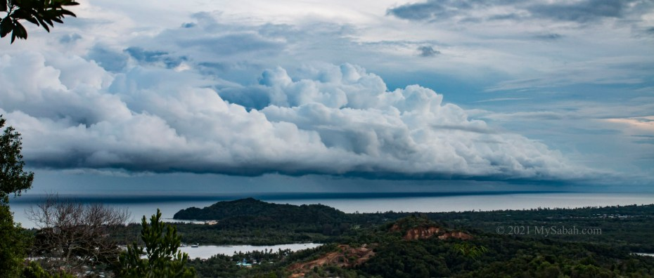 An arcus cloud, or a roll cloud at the Dalit Beach of Tuaran