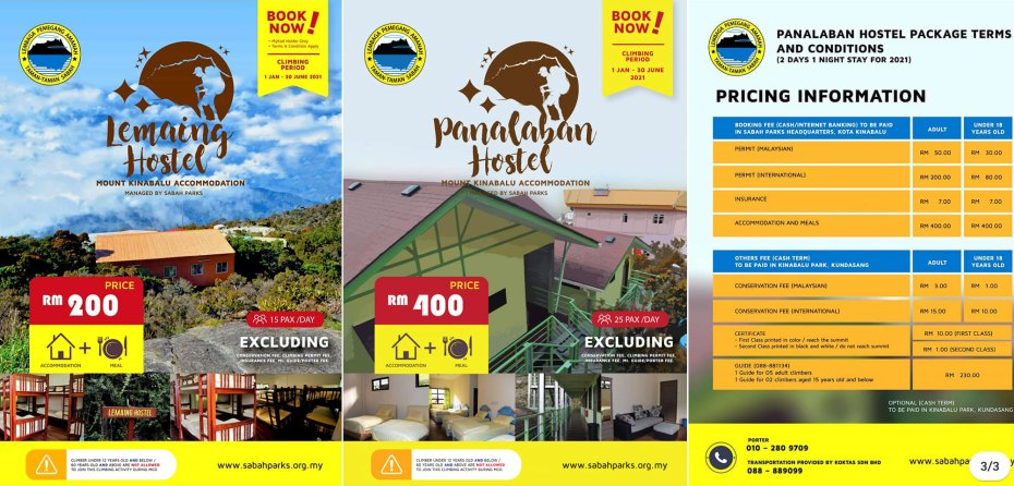 Accommodation rates of Lemaing and Panalaban Hostels