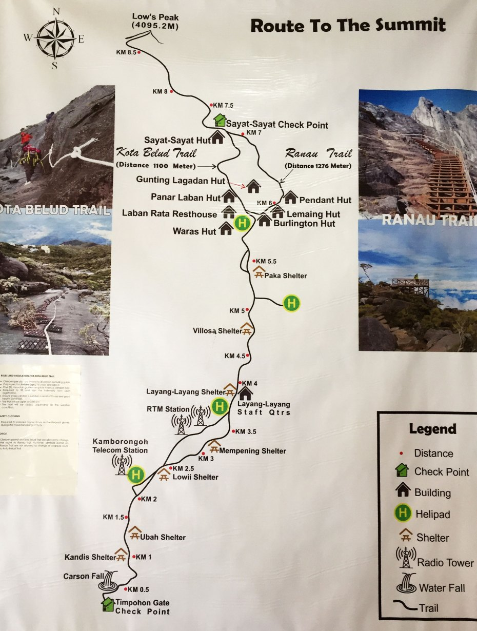 Trail map to the summit of Mount Kinabalu
