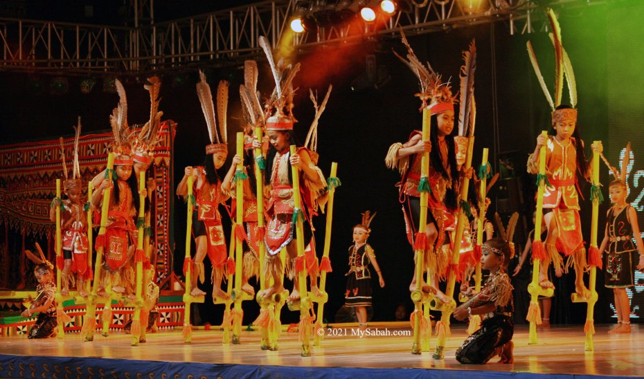 Bamboo dance performance by kids in Sabah Fest
