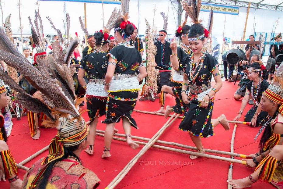 Cross style bamboo dance by Murut from Tenom
