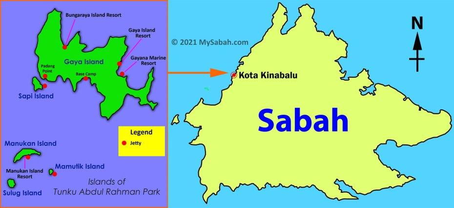 Location map of Tunku Abdul Rahman Marine Park