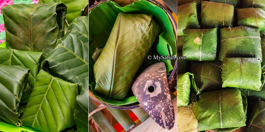 Linopot wrapped in the big leaf of Doringin (left), Banana (middle) and Wonihan (right)