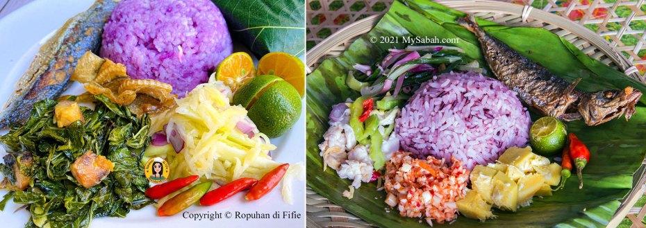 Left: Purple rice Linopot by Ropuhan di Fifie. Right: Linopot with traditional side dishes (Hinava, Tuhau, Bambangan, Losun)