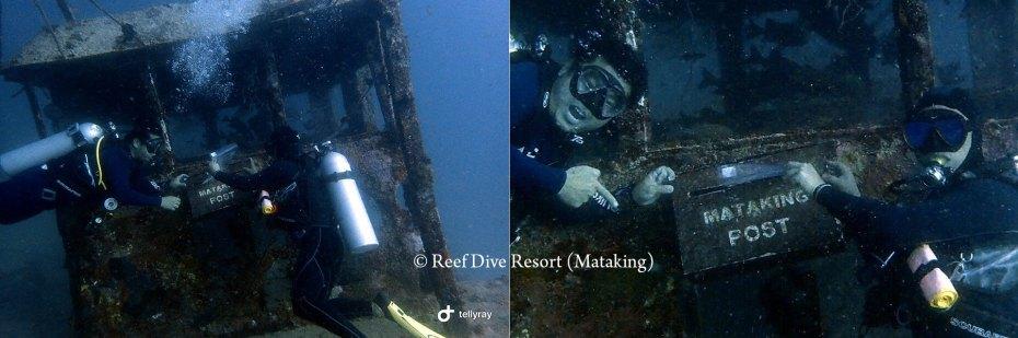 Sending postcard from the underwater post box of Mataking Island