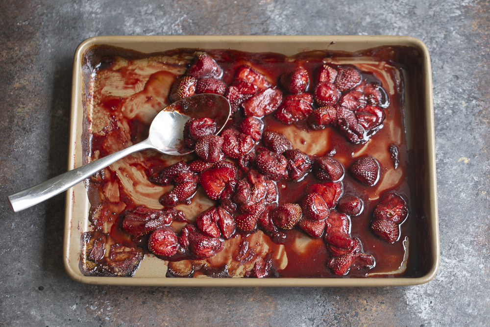 roasted strawberries in a pan