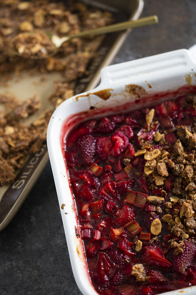 roasted strawberries and rhubarb with crisp topping