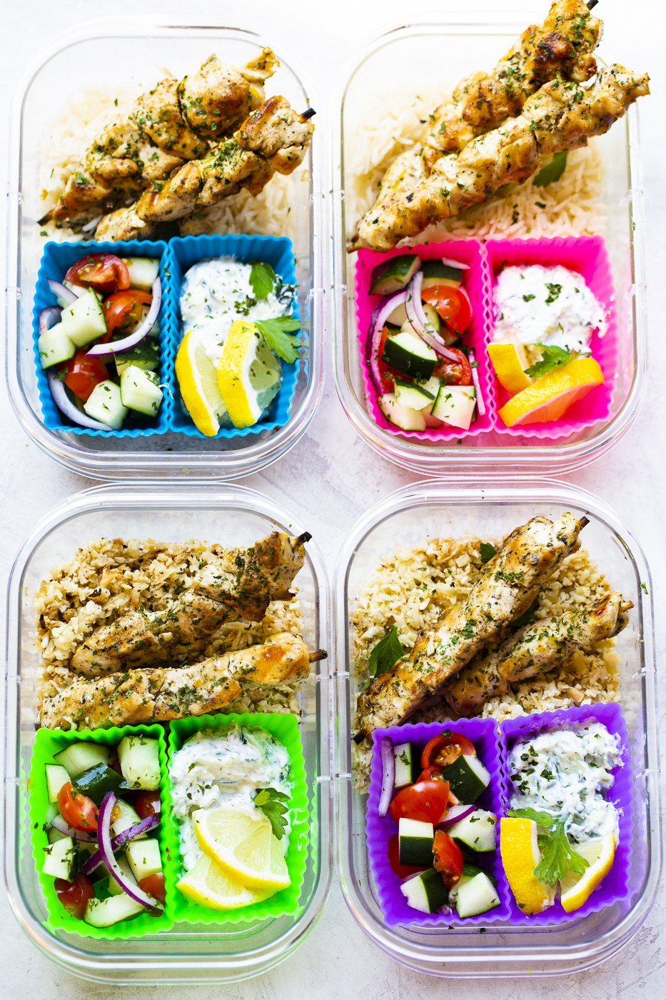 chicken souvlaki meal prep - chicken souvlaki skewers, tatziki and salad