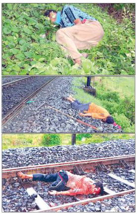 Three persons killed by a goods train in Sambalpur