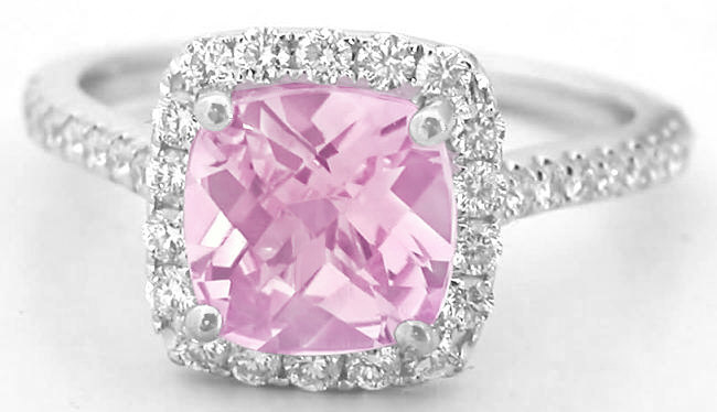 248 Ctw Checkerboard Cut Pink Sapphire And Diamond Ring