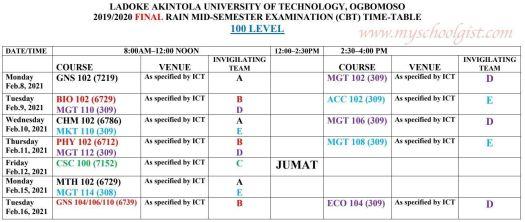 LAUTECH Rain Mid-Semester Exam Timetable 2019:2020
