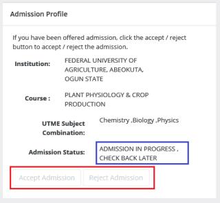 not offerd admission on jamb caps